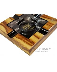 """My Father Wood-Glass Ashtray """"Original Tiger Skin in NATURAL"""""""